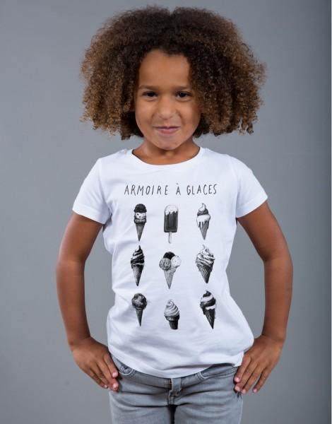 T-shirt fille blanc Armoire à Glaces