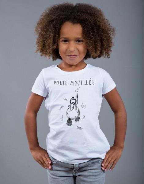 T-shirt Fille Blanc Poule Mouillée