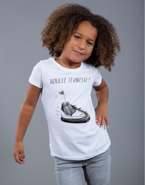 T-shirt Fille Blanc Roulez Jeunesse
