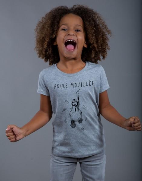 T-shirt Fille Gris Poule Mouillée