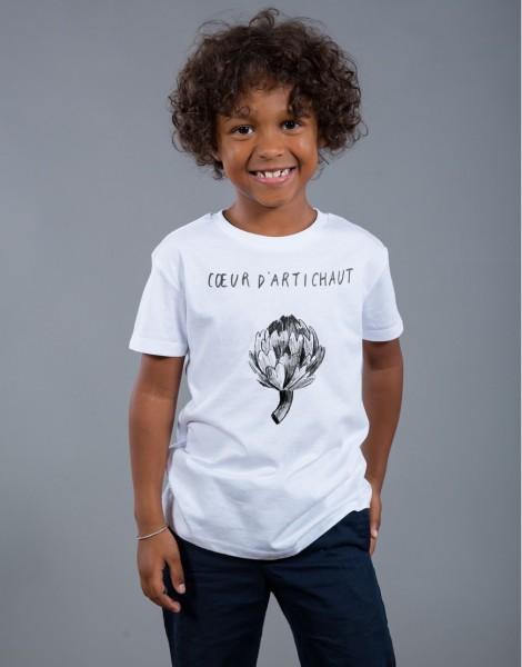 T-shirt Garçon Blanc Coeur d'Artichaut