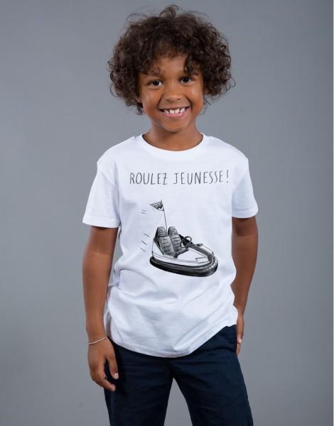 T-shirt Garçon Blanc Roulez Jeunesse
