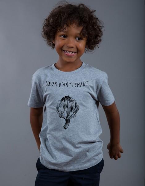 T-shirt Garçon Gris Coeur d'Artichaut