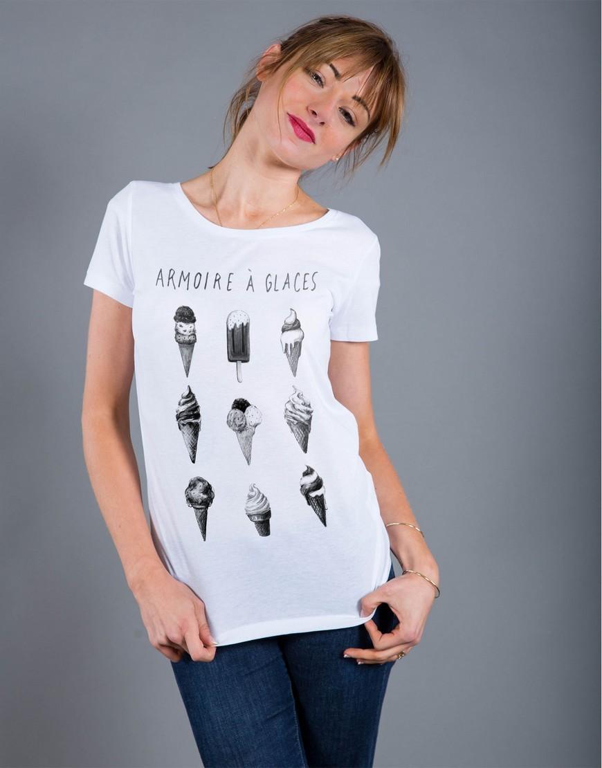 T-shirt Femme Blanc Armoire à Glaces