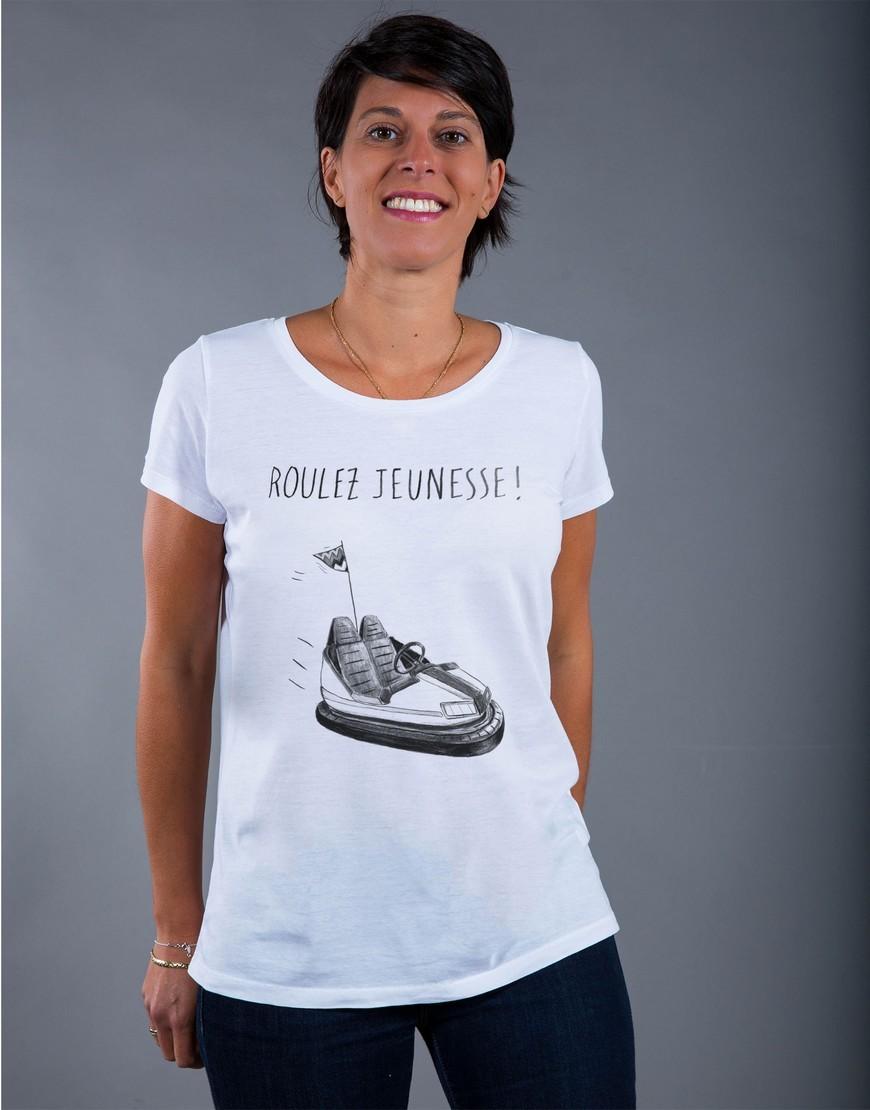 T-shirt Femme Blanc Roulez Jeunesse