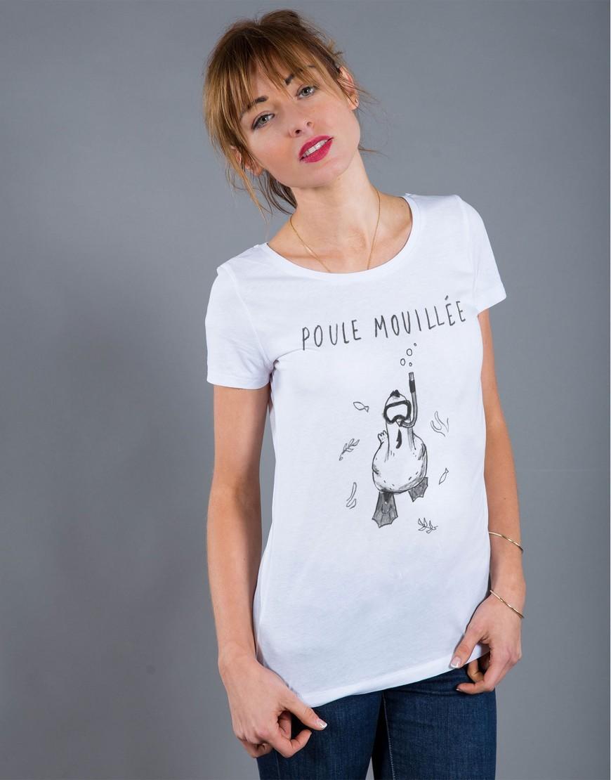 T-shirt Femme Blanc Poule Mouillée