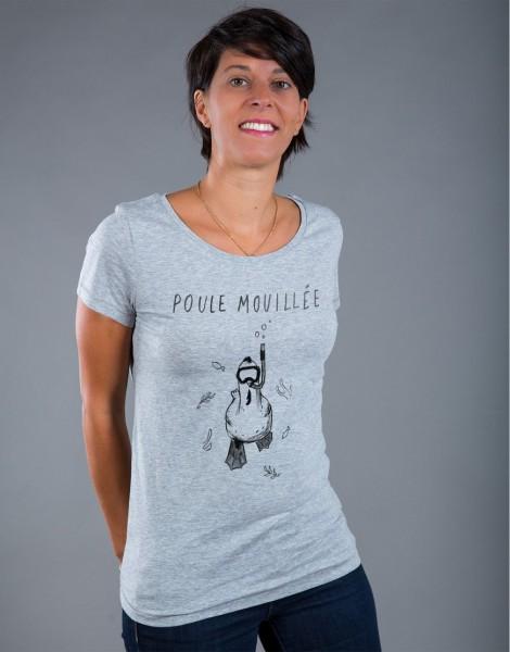 T-shirt Femme Gris Poule Mouillée