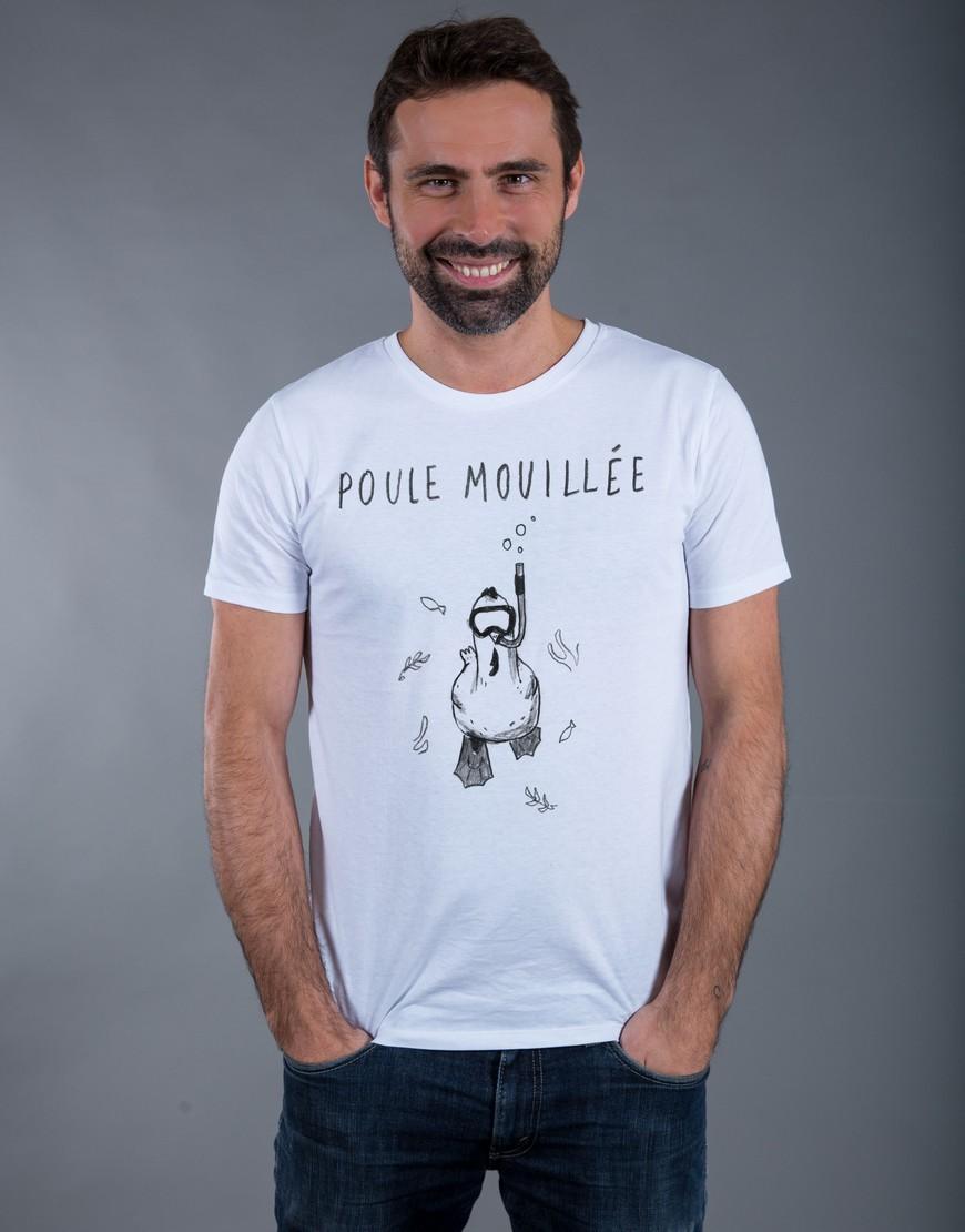 T-shirt Homme Blanc Poule Mouillée