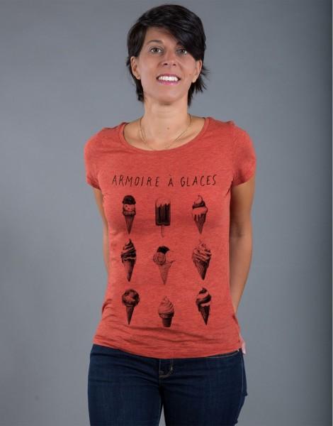 T-shirt Femme Rouge brique Armoire à Glaces