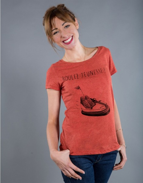 T-shirt Femme Rouge brique Roulez Jeunesse