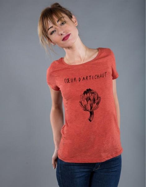 T-shirt Femme Rouge brique Coeur d'Artichaut