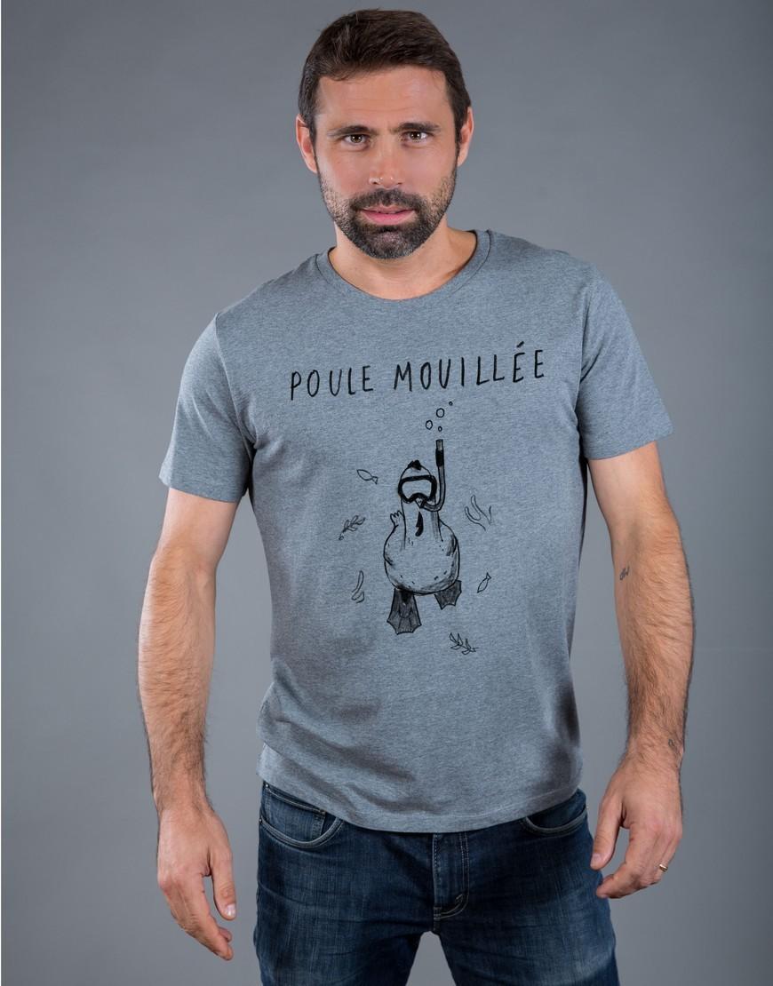 T-shirt Homme Gris Poule Mouillée