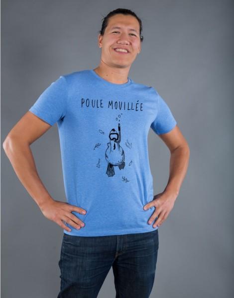 T-shirt Homme Bleu Poule Mouillée