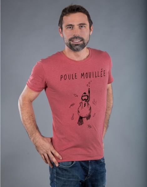 T-shirt Homme Rouge Poule Mouillée
