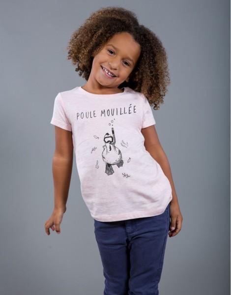 T-shirt Fille Rose Poule Mouillée