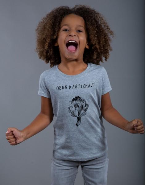 T-shirt Fille Gris Coeur d'Artichaut