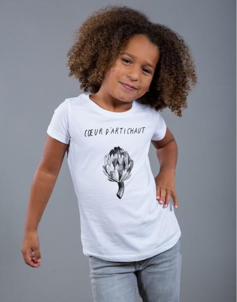T-shirt Fille Blanc Coeur d'Artichaut