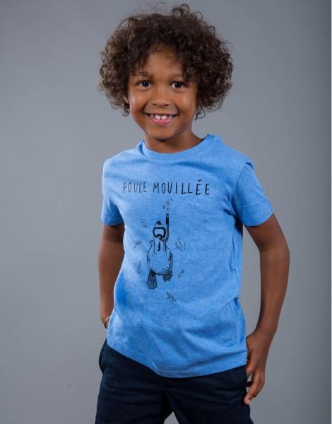 T-shirt Garçon Bleu Poule Mouillée
