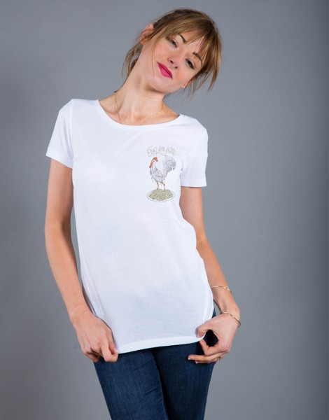 T-shirt Femme Blanc Coq en Pâte - Petit format