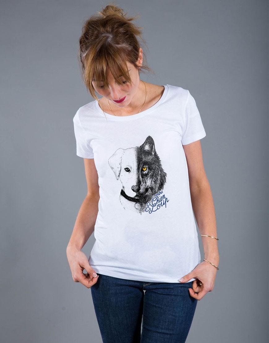 T-shirt Femme Blanc Entre Chien et Loup