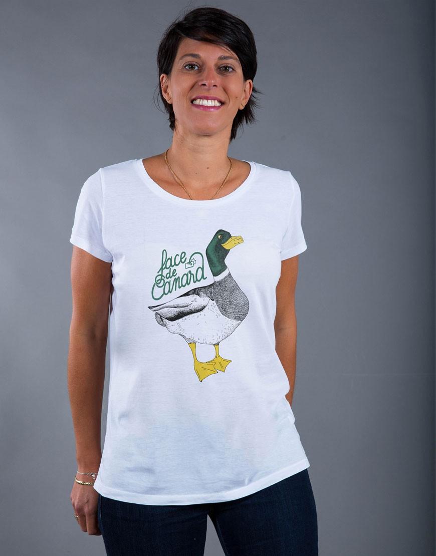 T-shirt Femme Blanc Face de Canard