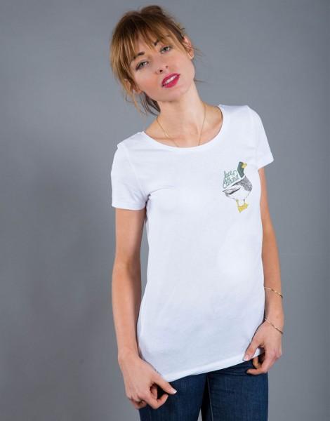 T-shirt Femme Blanc Face de Canard - Petit format