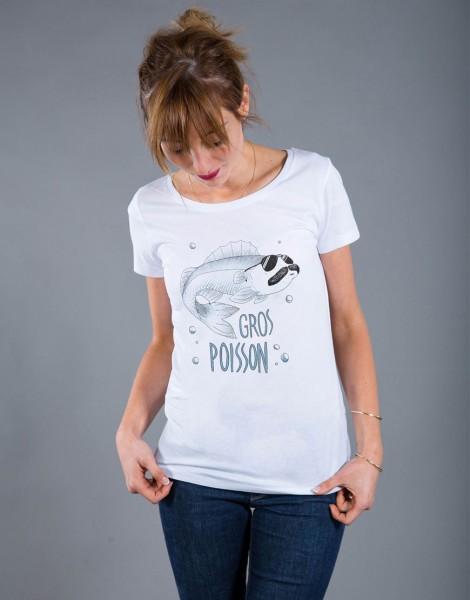 T-shirt Femme Blanc Gros Poisson