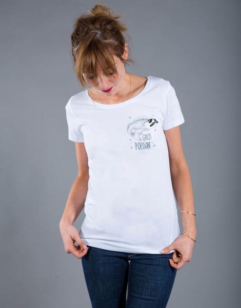 T-shirt Femme Blanc Gros Poisson - Petit format