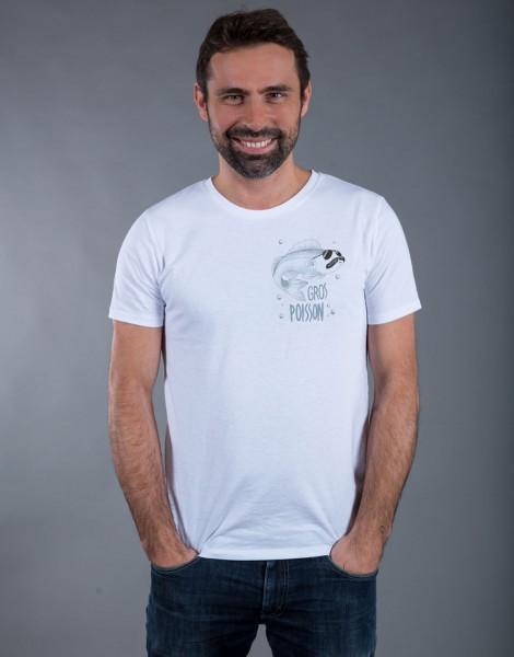 T-shirt Homme Blanc Gros Poisson - Petit format