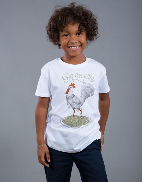 T-shirt Garçon Blanc Coq en Pâte