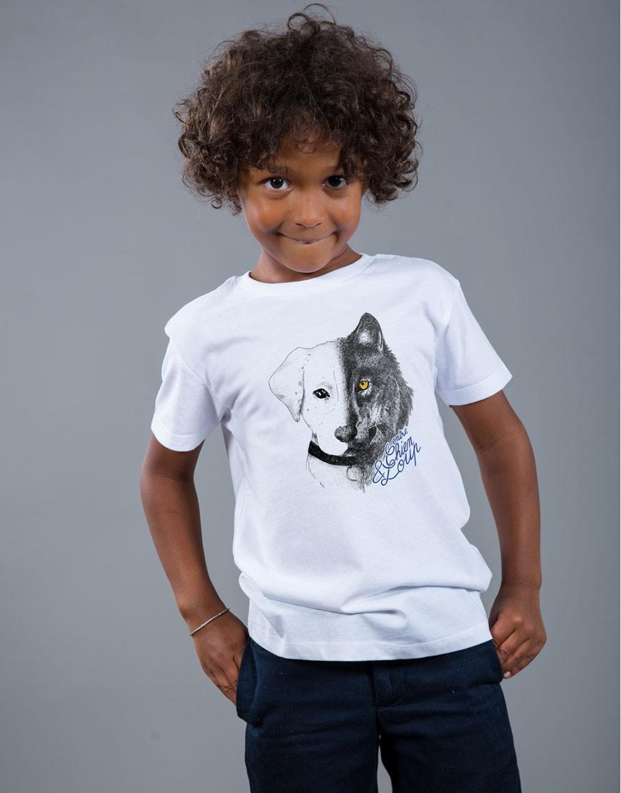 T-shirt Garçon Blanc Entre Chien et Loup
