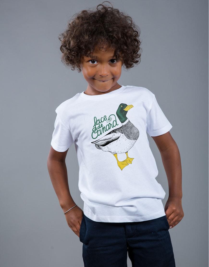 T-shirt Garçon Blanc Face de Canard