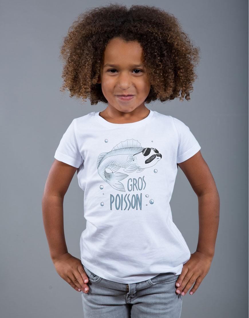 T-shirt Fille Blanc Gros Poisson