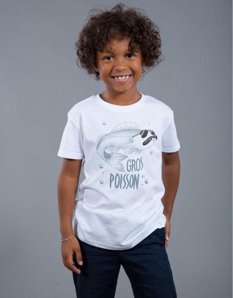 T-shirt Garçon Blanc Gros Poisson
