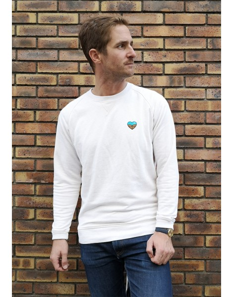 Sweat Homme Blanc Chiné Plan Coeur